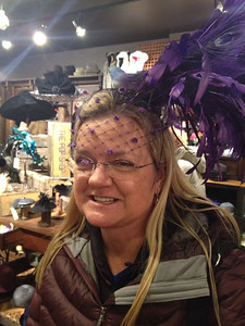 February 1, 2014 - (Mall of America [Chapel Hats] / Bloomington, Hennepin County, Minnesota) -- Stephanie Schupan trying on a hat
