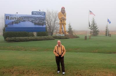 May 19, 2013 - (Voyageur statue / International Falls, Koochiching County, Minnesota) -- David in front of Voyageur statue