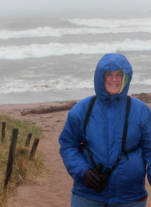 May 20, 2013 - (Park Point Beach [from path above parking lots] / Duluth, Saint Louis County, Minnesota) -- MaryAnne at the beach