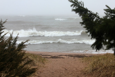 May 20, 2013 - (Park Point Beach [from path above parking lots] / Duluth, Saint Louis County, Minnesota) -- Beach