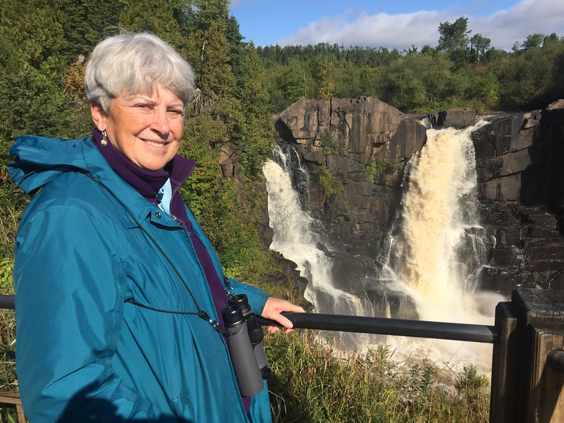 MaryAnne with Pigeon River Waterfalls @ Grand Portage SP
