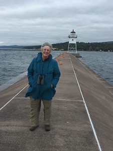 MaryAnne on Breakwater to Grand Marais Lighthouse