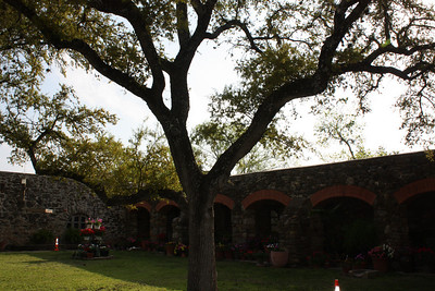 Behind the darkened archways are living quarters.  Franciscan monks live on site, and are responsible for all plants shown at Mission Espada.