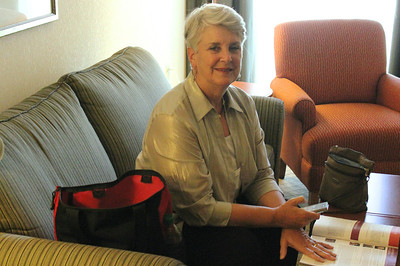 June 25, 2011 (New Orleans [Staybridge Suites / Tchoupitoulas Street] / Orleans Parish, Louisiana) - Mary Anne preparing for her first day of ALA Conference