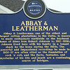 "Blues Trail Marker, Abbay and Leatherman<br /> <br /> Johnson left the Delta around 1930, but when he reappeared about two years later he possessed such formidable guitar technique that Robinsonville blues luminary Son House later remarked that Johnson must have ""sold his soul to the devil."""
