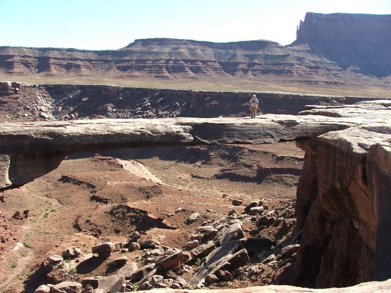 Musselman Arch on White Rim Trail, Canyonlands NP, Island in the Sky District. It is a lot farther down than it looks!