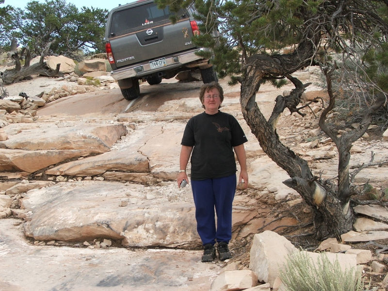 7 Mile Rim Trail. One of so many ledges on our travels. This is the only one I actually stopped and took pictures of. Deb was nice enough to let me park the truck on her head.