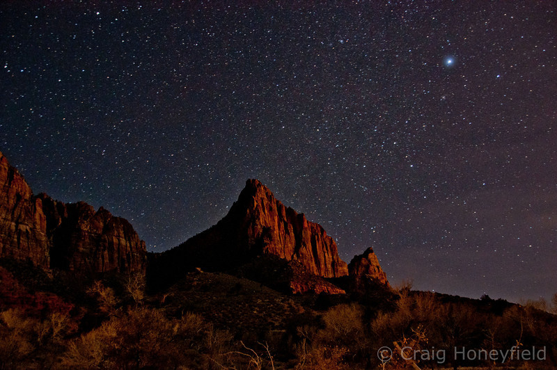 Long Exposure taken from our campsite at Zion.  ISO 1600, 30 sec exposure.