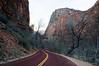 Main scenic road through Zion Park