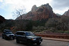 It was the off season, so we were allowed to drive through the park.  Zion is full of cliffs like the one pictured here.