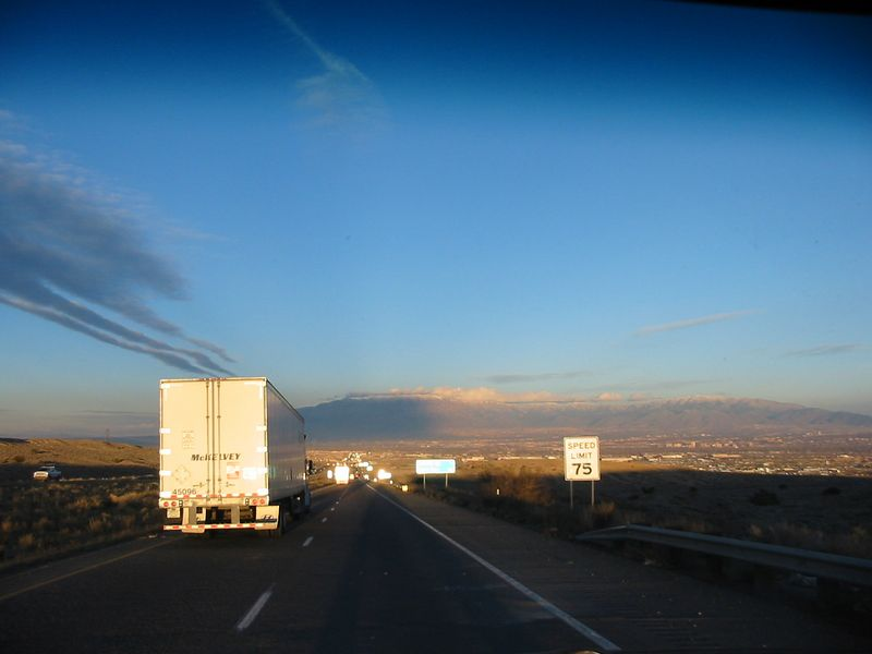 Coming into Albuquerque and thankful we aren't headed the other direction, straight into the setting sun