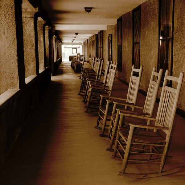 Bet not much has changed in a hundred years here.<br /> I like the sepia effect on the rocking chairs.