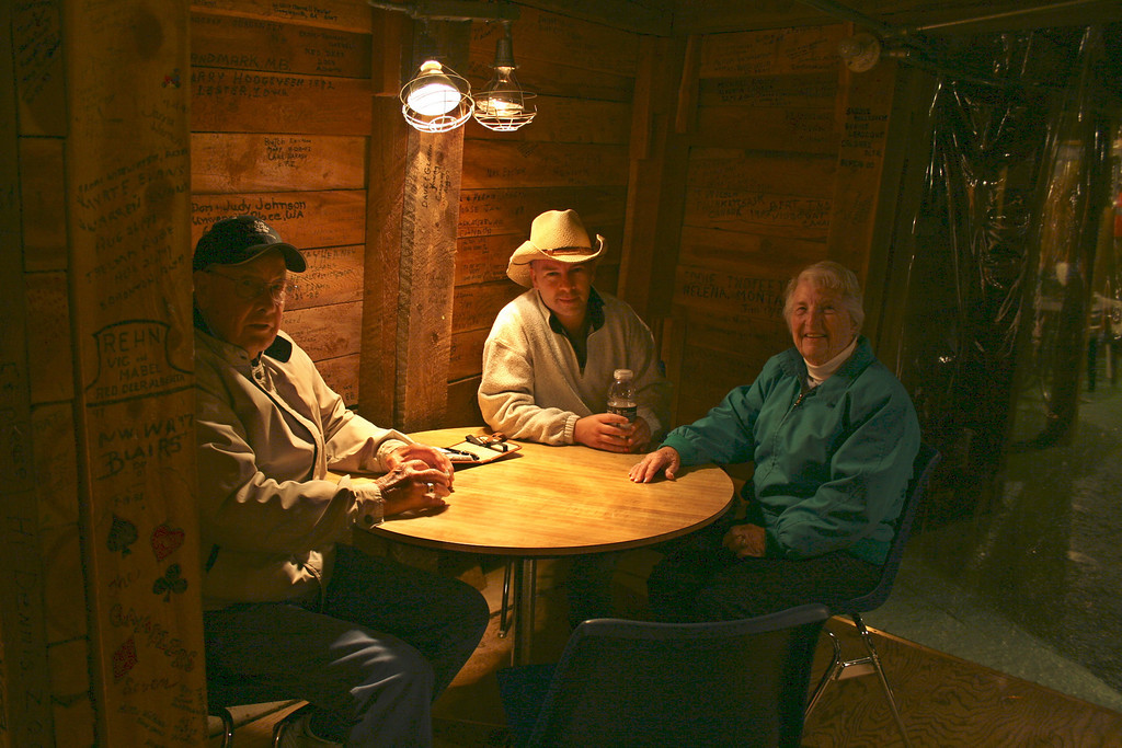 New friends at the mine - Glen with Del and Eileen. Del has AS too.