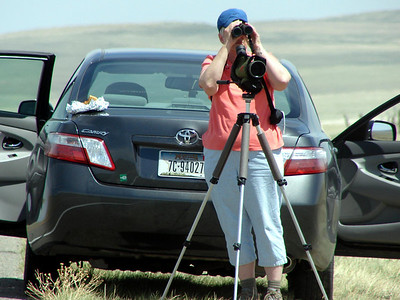 May 17, 2008 - (Blackfeet Reservation [Mission Road] / South Browning, Glacier County, Montana) -- MaryAnne and our Hybrid Toyota Camry