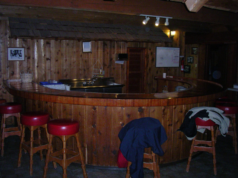 "Copper topped ""bar"" in the dining hall."