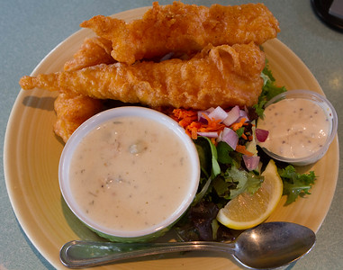 I got the fish and chips, with salad swapped for chips plus some chowder.  The breading on the fish was so incredibly light it didn't get in the way of enjoyment.