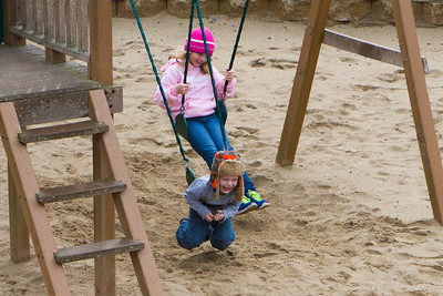 Kids were enjoying the playground at the resort when it wasn't raining.