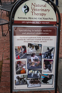 The veterinarian in Pacific Grove proudly displays the types of treatments available.  Online reviews indicate she's very successful helping animals that have not experienced improvement elsewhere...