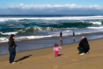 Everyone was bundled up, but the shore was popular when the sun was shining.