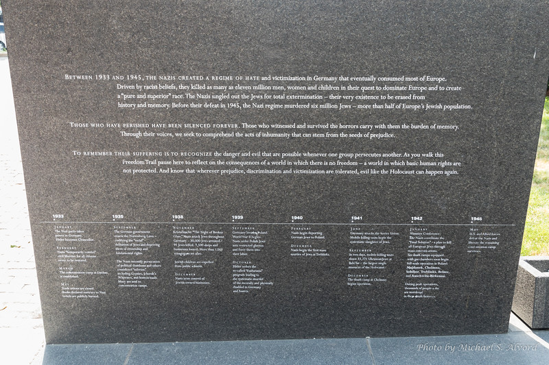 This is the Holocaust memorial. It is comprised of this monument and then 6 glass monuments where millions of numbers are etched in the glass, representing the infamous tattoos inflected on many of the victims' arms