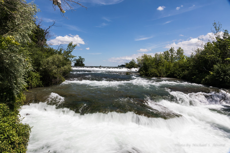 One of the small splits in the river that feeds the falls.
