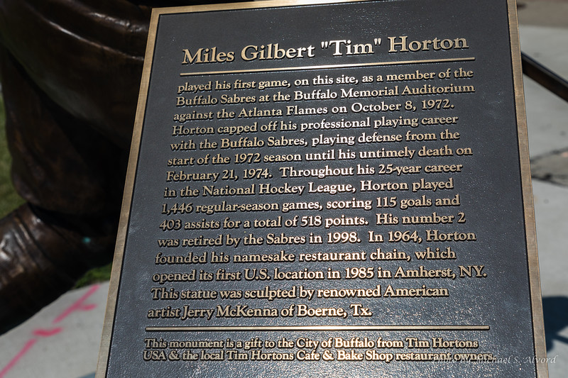 """During our walk we came across this monument of Miles Gilbert """"Tim"""" Horton."""