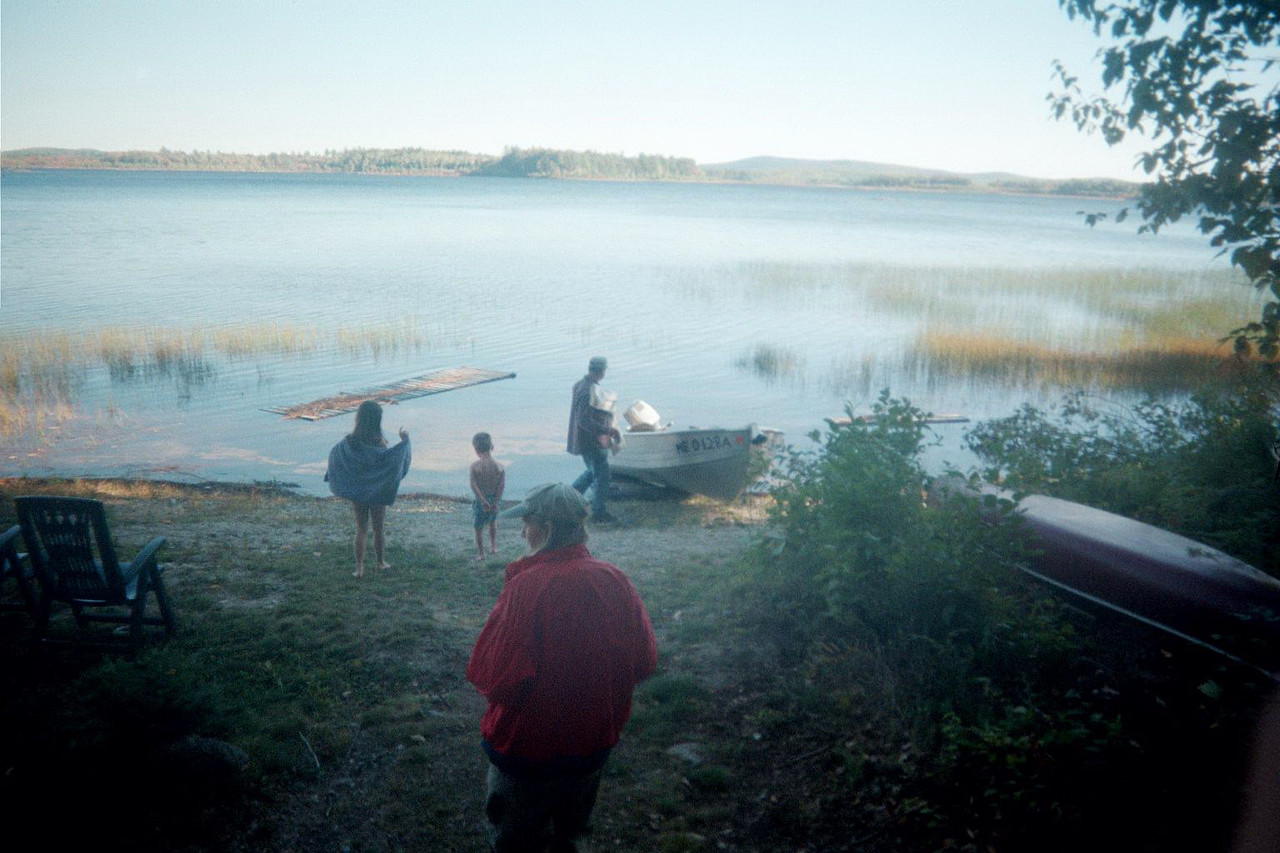 Moose hunt 02. Getting ready for swimming. The brave kids Emma and Alden