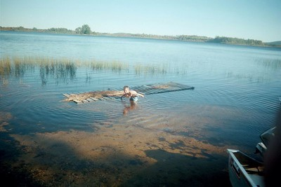 Moose hunt 02. Getting ready for swimming. The brave kid Alden. The floating dock.