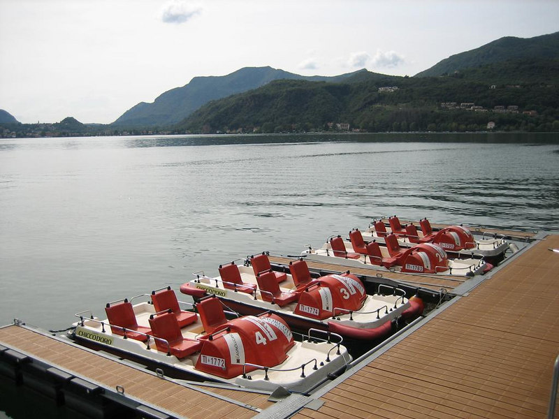Modern paddle boats for trips across the lake