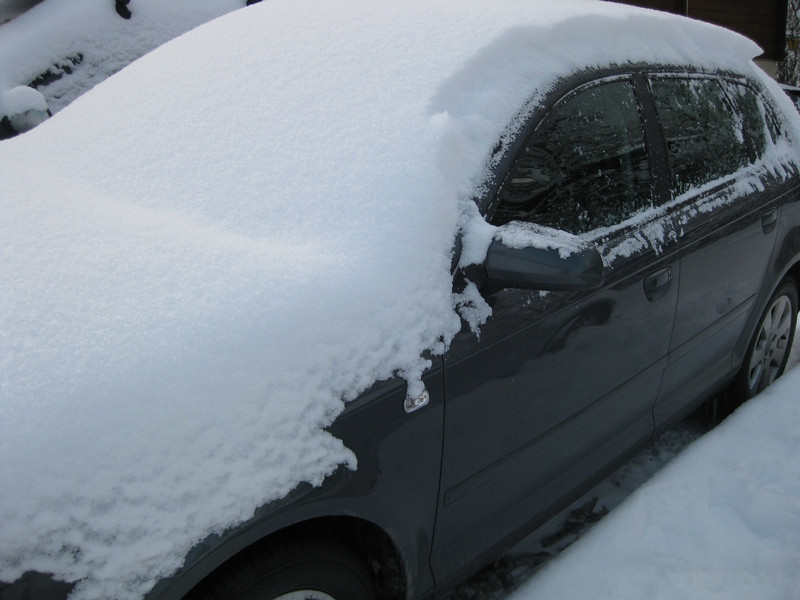 snow cover on my car and -18C