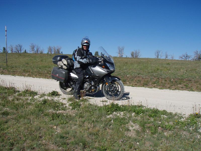 """Larry, """"Groundskimmer"""" riding the Gravelly Range."""