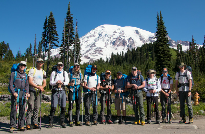 Start of the hike to Muir Camp, so many happy faces