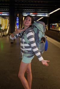 Elizabeth modeling her new backpack
