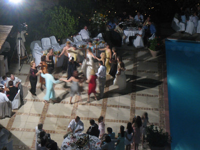 Dancing at a wedding reception  (as viewed from 4th floor roof)