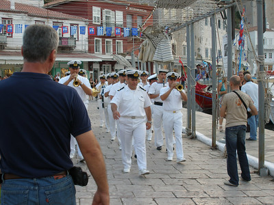Military band during Miaoulis Festival (last weekend in June) , Hydra.