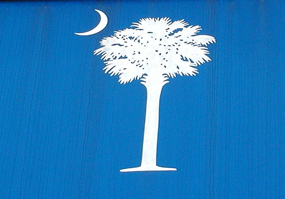 South Carolina Flag Emblem on the Visitor Center<br /> I actually SAW a South Carolina twilight sky  that looked like this.  It was a really neat experience!