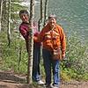 Joan and my sister at Lake Minniwanka