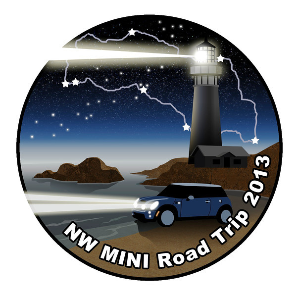 Our official logo, adorning our grille badges, shirts, hat pins and stickers. Designed and created by Kristen, who drives a blue MINI.