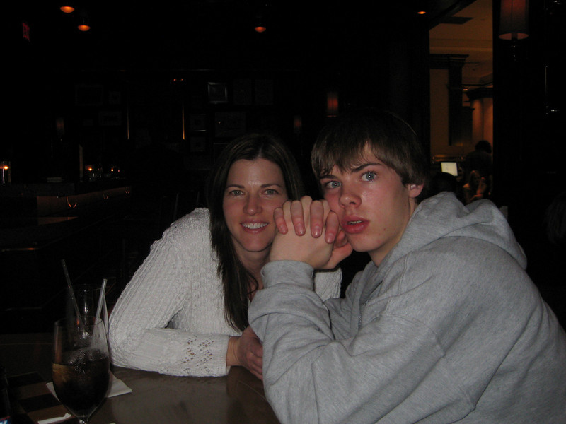 Laura and Braiden at the Sheraton Towers lobby.
