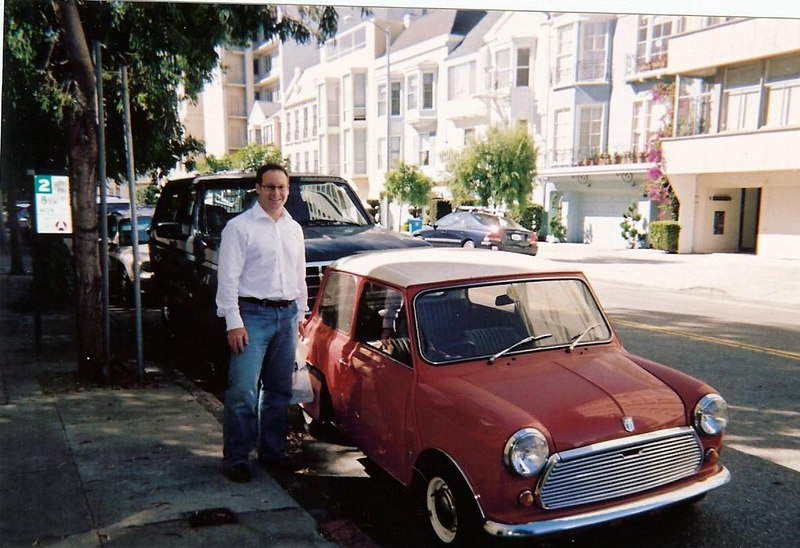 Matt contemplates a new rental car on the streets of San Francisco
