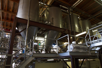 The tanks lead to the presses where the wine is released.