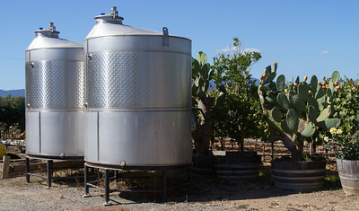 The fermenting tanks are conveniently located outside for easy access.