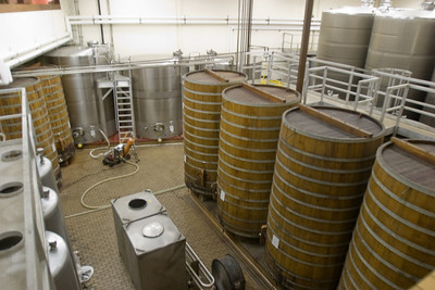 Initial storage and transfer room at Sterling Vineyards.  Those giant wooden tanks are apparently oak - amazing.