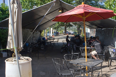 The tasting room had an outdoor annex, and the shade was appreciated.