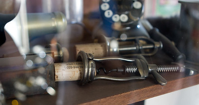 There were many displays around the walls, including vintage cork pullers.