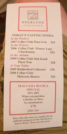 Sterling Vineyards had an interesting selection of wines.