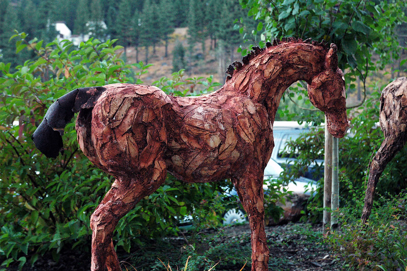 This horse sculpture is located as you enter the village.