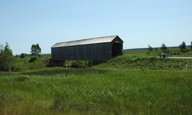 Covered bridge on the way to Hopewell Rocks.  Car did not stop for this...took photo out of speeding car.