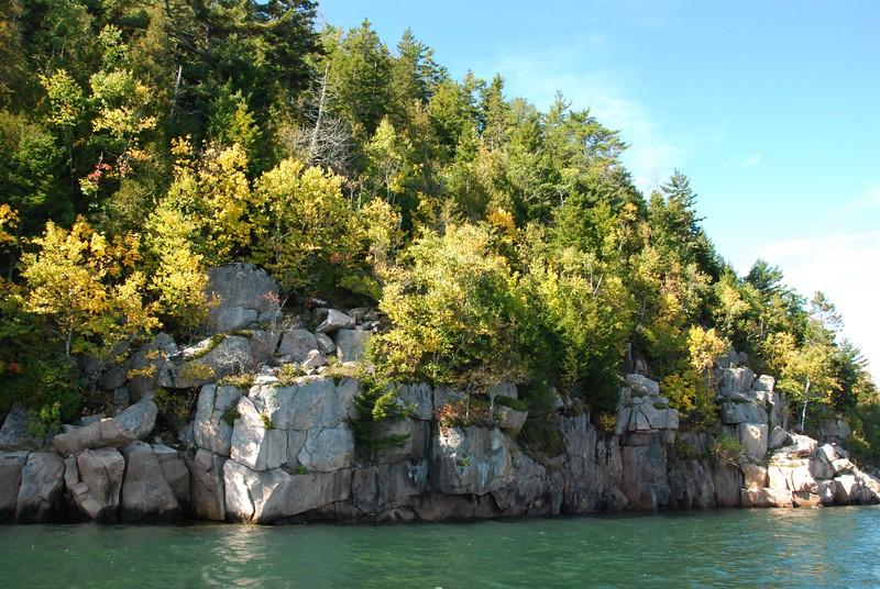 Sheer granite cliffs.