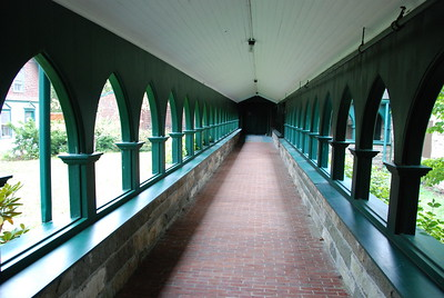 Covered walkway between the rectory and the church.